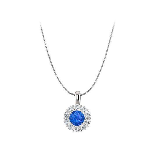 DesignerByVeronica Sapphire and CZ Round Halo Pendant in Sterling Silver Image 0