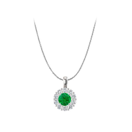 Preload https://img-static.tradesy.com/item/23813196/green-shimmering-emerald-and-cz-round-halo-pendant-in-silver-necklace-0-0-540-540.jpg