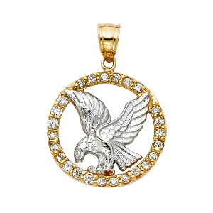 TD Collections 14K Two Tone Gold CZ Eagle Pendant