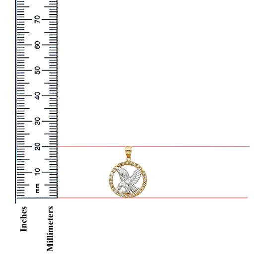 TD Collections 14K Two Tone Gold CZ Eagle Pendant Image 1