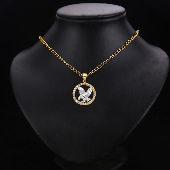 TD Collections 14K Two Tone Gold CZ Eagle Pendant Image 2