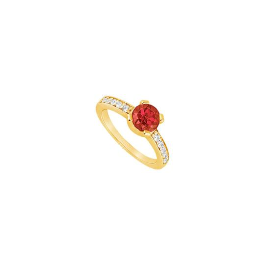 DesignerByVeronica Created Ruby and Cubic Zirconia Engagement Ring Yellow Gold Vermeil Image 0