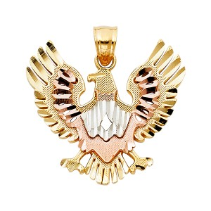 TD Collections 14K Tri Color Gold Eagle Pendant
