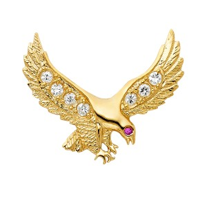 TD Collections 14K Yellow Gold CZ Eagle Pendant
