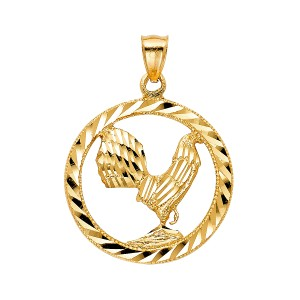 TD Collections 14K Yellow Gold Rooster Pendant
