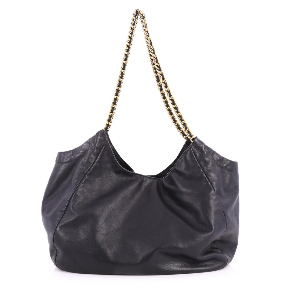 Chain Black Tote Soft Prada Calfskin Leather Large OqaWUwH