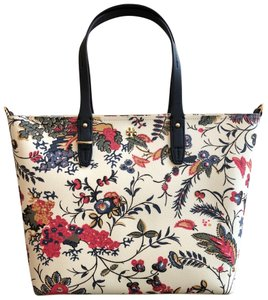 Tory Burch Small Zip Summer Tote in New Ivory Gabriela Floral