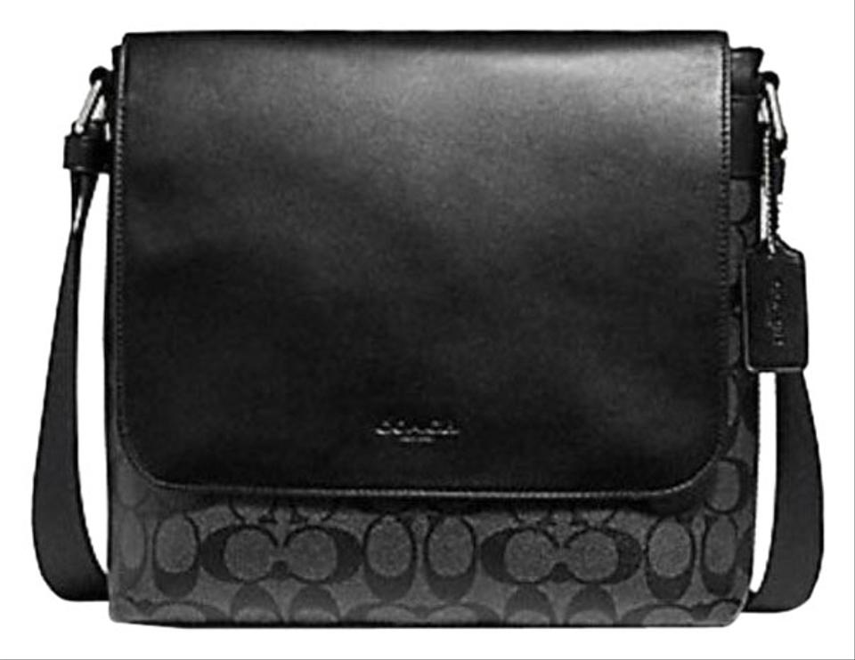 02131442cd Coach Charles Small Signature F28575 Black Leather Messenger Bag ...