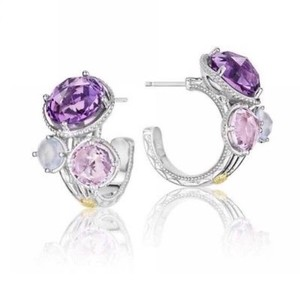 Tacori Tacori 18k925 Lilac Blossoms Trio Stoned Hoop Earrings