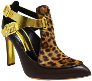 Rupert Sanderson Cheetah Strappy Leopard printed cowhide, brown, gold leather Boots