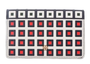 Tory Burch TORY BURCH LEATHER SQUARE PRINT TILE FOLD SNAP WALLET