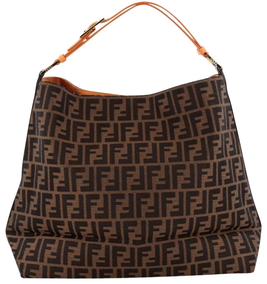 Shoulder Tote Brown Leather Fendi Bag Canvas Zucca aEYqTf