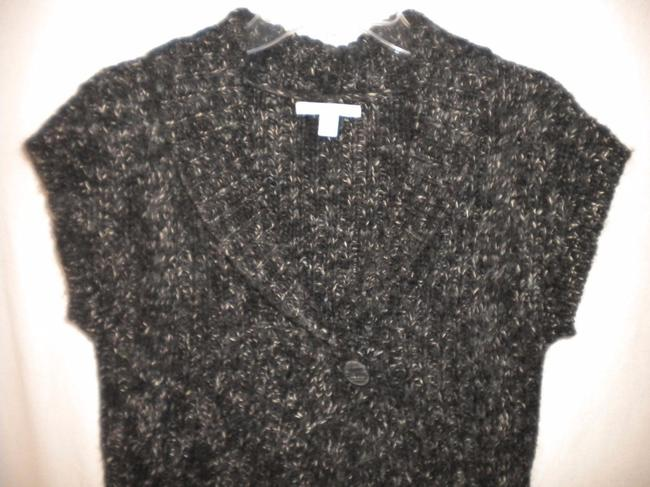 Merona Sheath Button Front Wool Blend Black/White Sweater Image 1