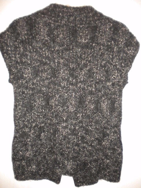 Merona Sheath Button Front Wool Blend Black/White Sweater Image 3