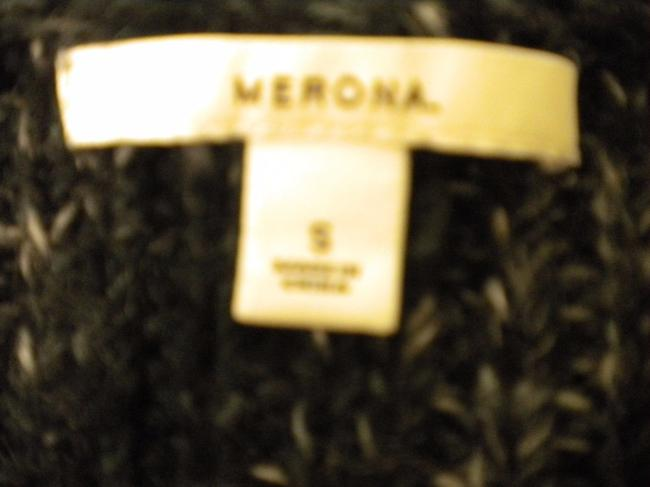Merona Sheath Button Front Wool Blend Black/White Sweater Image 4