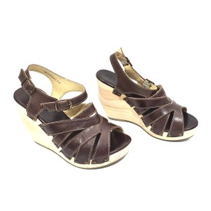 Bed|Stü Handmade Leather Strappy Wedge Platform Brown Sandals