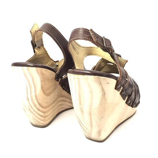 Bed|Stü Handmade Leather Strappy Wedge Platform Brown Sandals Image 1