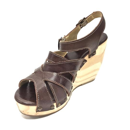Bed|Stü Handmade Leather Strappy Wedge Platform Brown Sandals Image 10