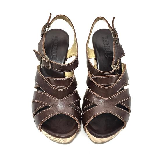 Bed|Stü Handmade Leather Strappy Wedge Platform Brown Sandals Image 11