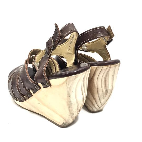 Bed|Stü Handmade Leather Strappy Wedge Platform Brown Sandals Image 2