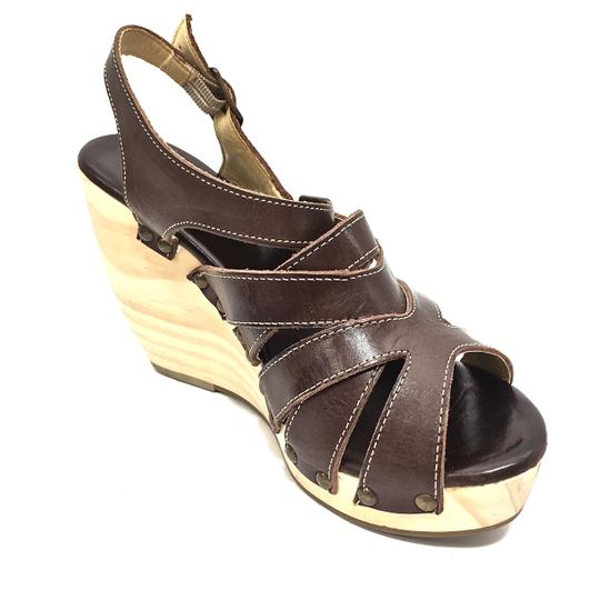 Bed|Stü Handmade Leather Strappy Wedge Platform Brown Sandals Image 3