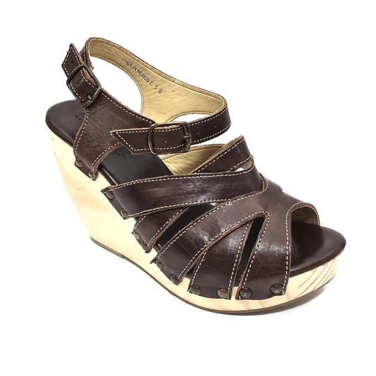 Bed|Stü Handmade Leather Strappy Wedge Platform Brown Sandals Image 5
