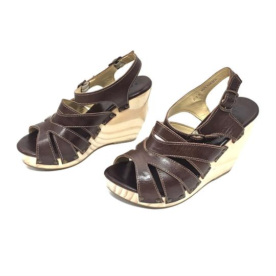 Bed|Stü Handmade Leather Strappy Wedge Platform Brown Sandals Image 6