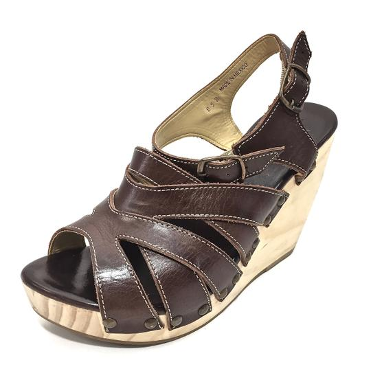 Bed|Stü Handmade Leather Strappy Wedge Platform Brown Sandals Image 7