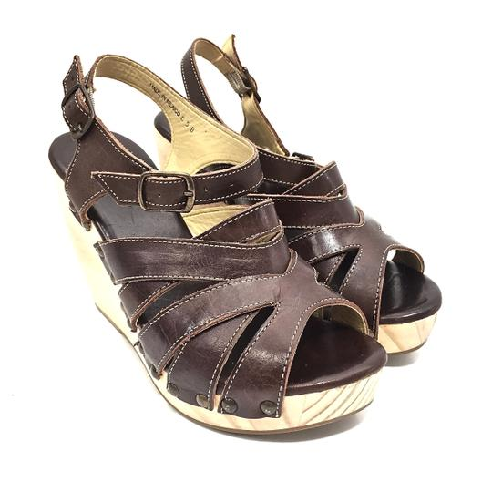 Bed|Stü Handmade Leather Strappy Wedge Platform Brown Sandals Image 8