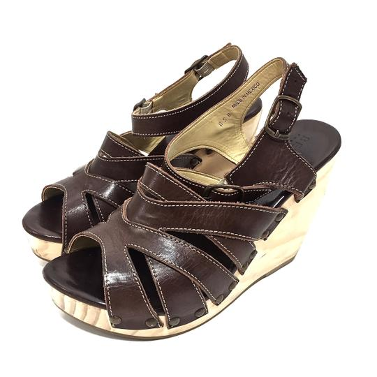 Bed|Stü Handmade Leather Strappy Wedge Platform Brown Sandals Image 9