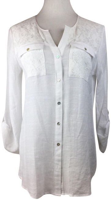 Preload https://img-static.tradesy.com/item/23814976/ny-collection-white-split-neck-roll-tab-lace-blouse-size-4-s-0-1-650-650.jpg