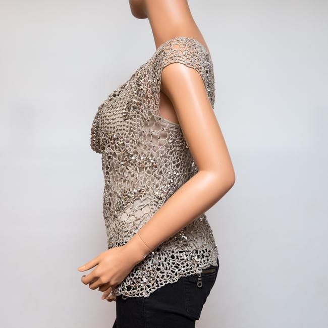 Donna Karan Crochet Includes Cami Euc Sequined Beachy Top Taupe Image 2