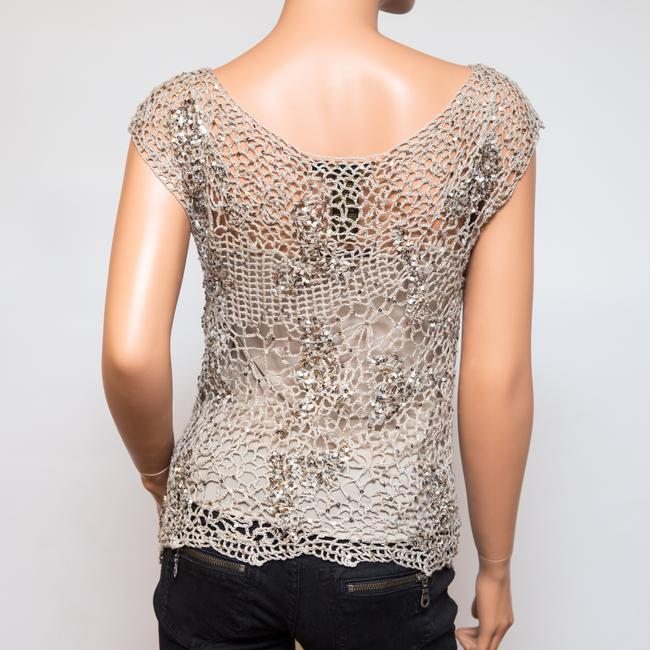 Donna Karan Crochet Includes Cami Euc Sequined Beachy Top Taupe Image 3