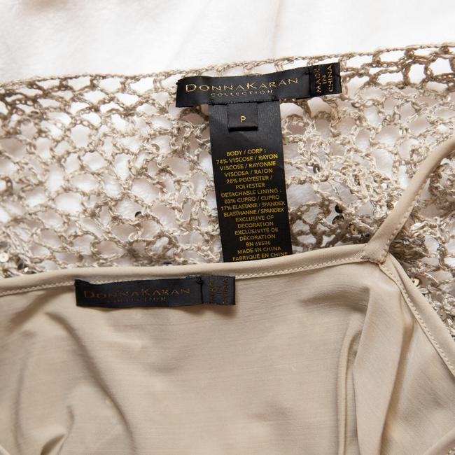 Donna Karan Crochet Includes Cami Euc Sequined Beachy Top Taupe Image 8