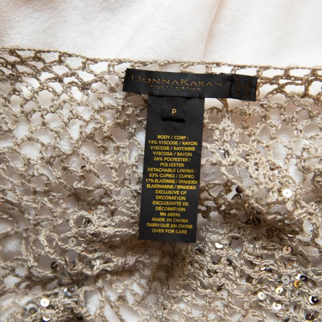 Donna Karan Crochet Includes Cami Euc Sequined Beachy Top Taupe Image 9