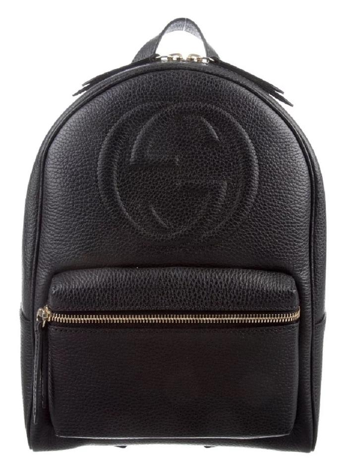 6f9f97ea437f Gucci Soho  536192 Gold Chain Black Leather Backpack - Tradesy