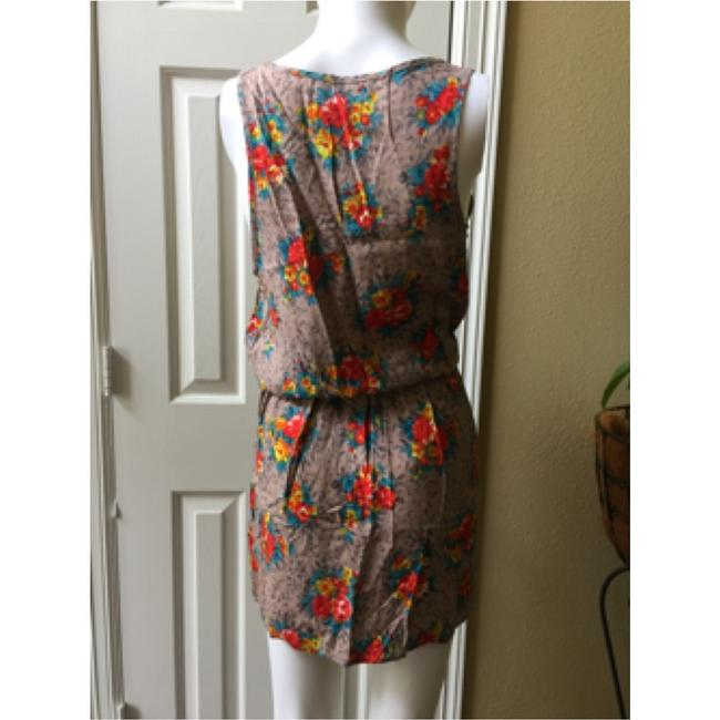 Forever 21 short dress Floral tan Elastic Waisted Pockets on Tradesy