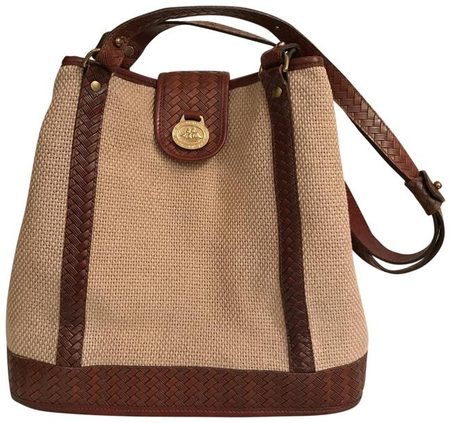Item - Bucket Harbor Woven Removable Pouch Beige Brown Gold Canvas Tote