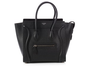 Céline Top Handle Micro Ce.p0711.05 Silver Hardware Drum Tote in Black