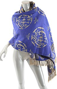Oliver OLIVER Cobalt Tan Black Wool Interesting Medallion Shape Pattern Shawl