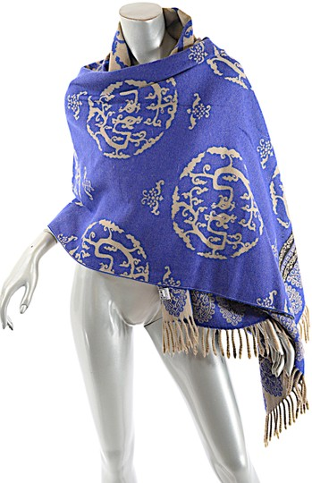 Preload https://img-static.tradesy.com/item/23815197/blue-tan-black-cobalt-wool-interesting-medallion-shape-pattern-shawl-scarfwrap-0-1-540-540.jpg