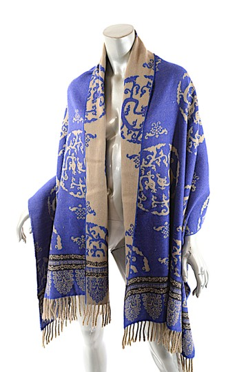 Oliver OLIVER Cobalt Tan Black Wool Interesting Medallion Shape Pattern Shawl Image 4