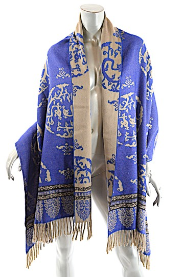 Oliver OLIVER Cobalt Tan Black Wool Interesting Medallion Shape Pattern Shawl Image 5