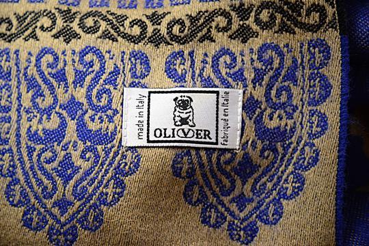 Oliver OLIVER Cobalt Tan Black Wool Interesting Medallion Shape Pattern Shawl Image 6