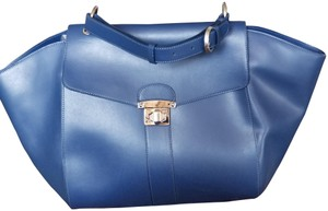 Alberta Di Canio Leather Winged Leather Satchel in Blue
