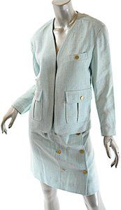 Chanel CHANEL Boutique Vintage Aqua 100% Rayon Skirt Suit w/Gold Coin Buttons