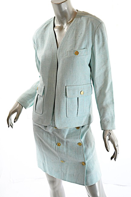 Chanel CHANEL Boutique Vintage Aqua 100% Rayon Skirt Suit w/Gold Coin Buttons Image 1