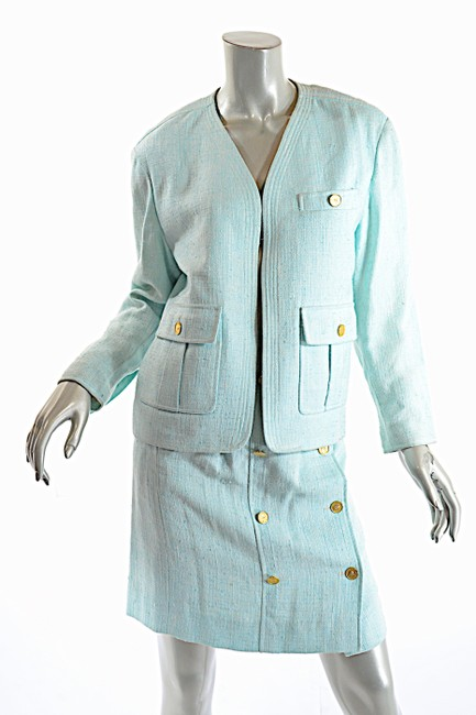 Chanel CHANEL Boutique Vintage Aqua 100% Rayon Skirt Suit w/Gold Coin Buttons Image 2