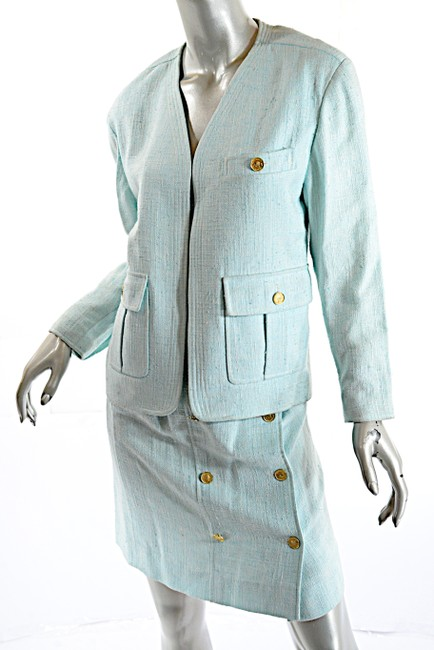 Chanel CHANEL Boutique Vintage Aqua 100% Rayon Skirt Suit w/Gold Coin Buttons Image 3