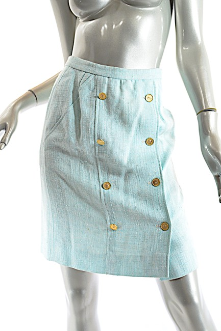 Chanel CHANEL Boutique Vintage Aqua 100% Rayon Skirt Suit w/Gold Coin Buttons Image 4